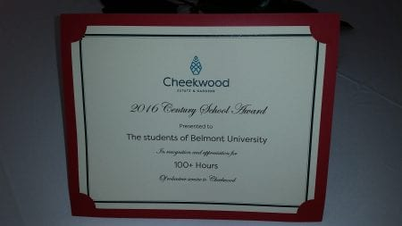 Cheekwood Recognizes Belmont Student Volunteers with Century