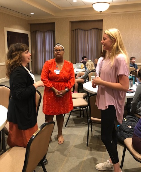 Caine and Malick speak with nursing students and faculty about the residency program.